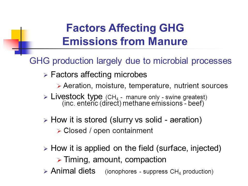  Nitrous oxide can be produced by  Oxidation of ammoniacal N (NH 4 +, NH 3 )  Reduction of nitrate (NO 3 ) – avoid anaerobic Land Application Practices to Minimize GHG emissions  Sources  N fertilizers  Livestock manures  Tillage Systems – no clear differences