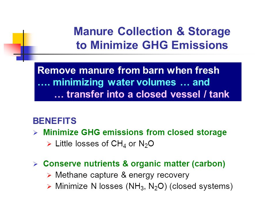 BENEFITS  Minimize GHG emissions from closed storage  Little losses of CH 4 or N 2 O  Conserve nutrients & organic matter (carbon)  Methane capture & energy recovery  Minimize N losses (NH 3, N 2 O) (closed systems) Manure Collection & Storage to Minimize GHG Emissions Remove manure from barn when fresh ….