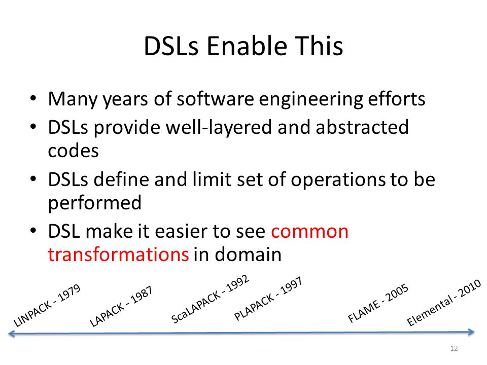 DSLs Enable This Many years of software engineering efforts DSLs provide well-layered and abstracted codes DSLs define and limit set of operations to be performed DSL make it easier to see common transformations in domain 12 LAPACK - 1987 ScaLAPACK - 1992 PLAPACK - 1997 FLAME - 2005 Elemental - 2010 LINPACK - 1979