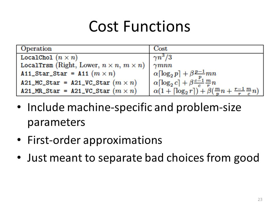 Cost Functions 23 Include machine-specific and problem-size parameters First-order approximations Just meant to separate bad choices from good