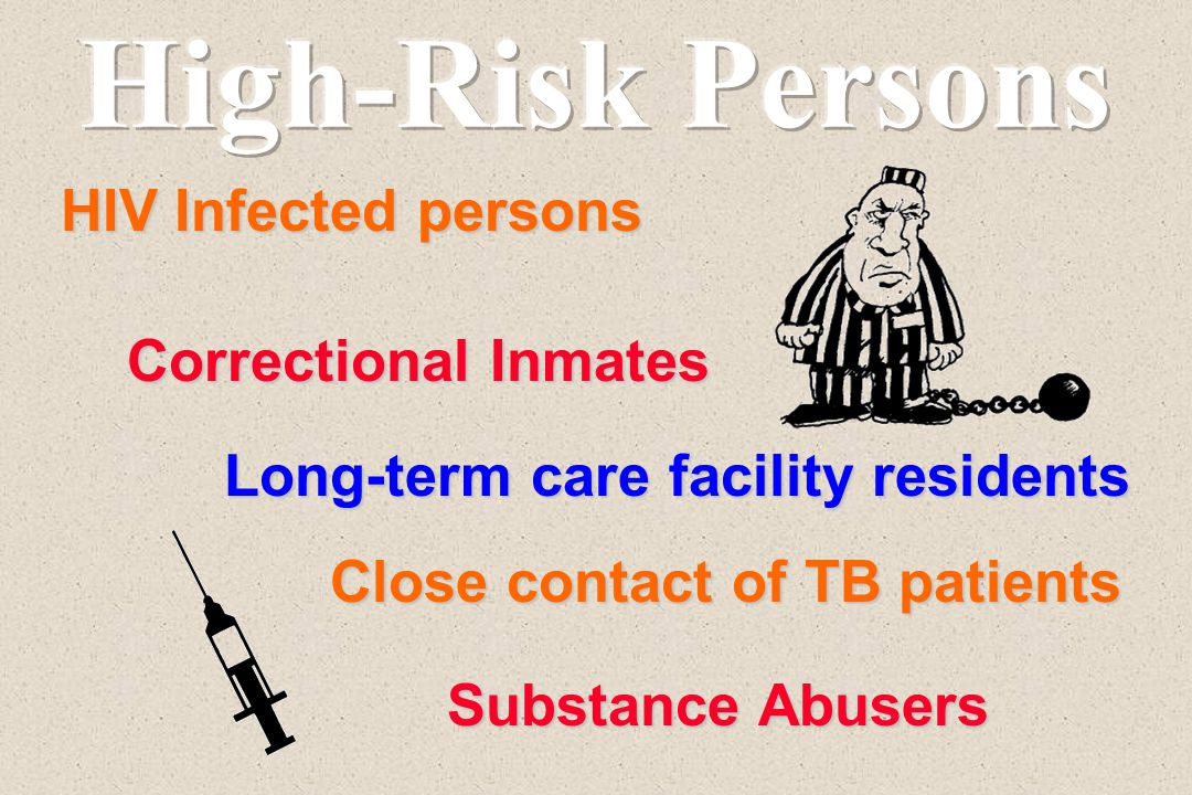 HIV Infected persons Correctional Inmates Long-term care facility residents Close contact of TB patients Substance Abusers