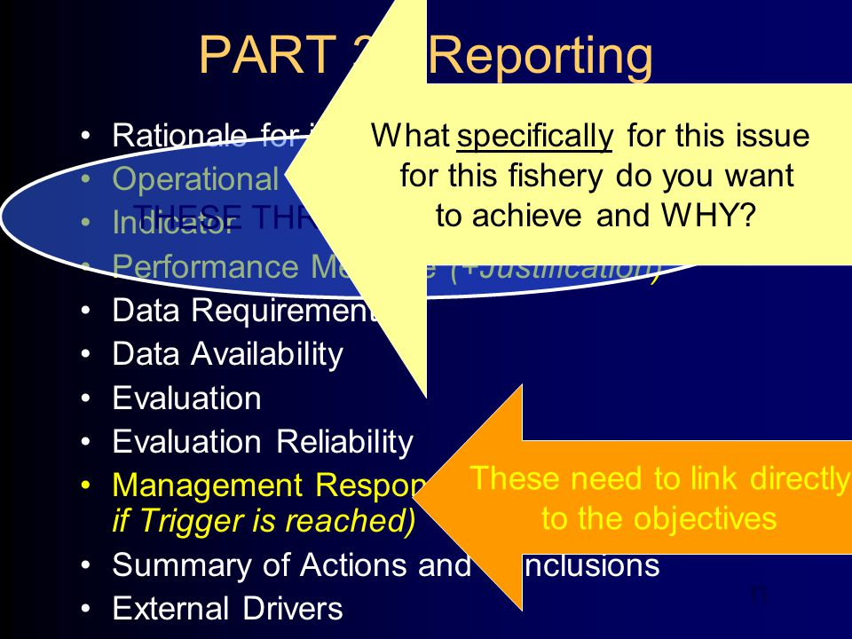 PART 3 - Reporting Rationale for inclusion (risk rating) Operational Objectives (+Justification) Indicator Performance Measure (+Justification) Data Requirements Data Availability Evaluation Evaluation Reliability Management Response (Current, Future and if Trigger is reached) Summary of Actions and Conclusions External Drivers THESE THREE ARE A PACKAGE What specifically for this issue for this fishery do you want to achieve and WHY.