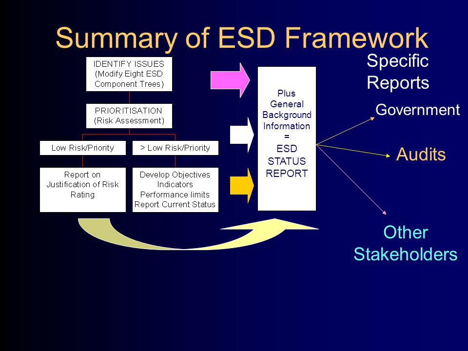 Summary of ESD Framework Plus General Background Information = ESD STATUS REPORT Audits Other Stakeholders Government Specific Reports