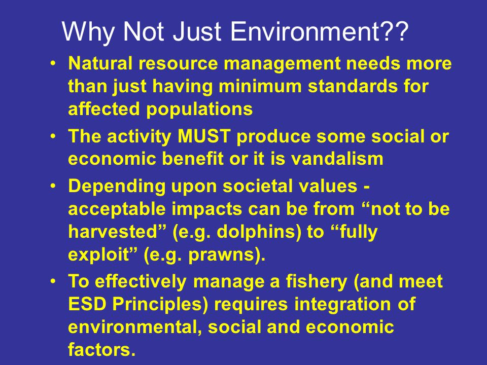 Issues and Needs Fisheries Legislative Requirements (all have ESD in their Acts in some form) Other Government Requirements e.g.