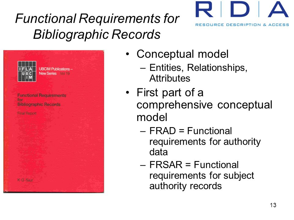 13 Functional Requirements for Bibliographic Records Conceptual model –Entities, Relationships, Attributes First part of a comprehensive conceptual model –FRAD = Functional requirements for authority data –FRSAR = Functional requirements for subject authority records