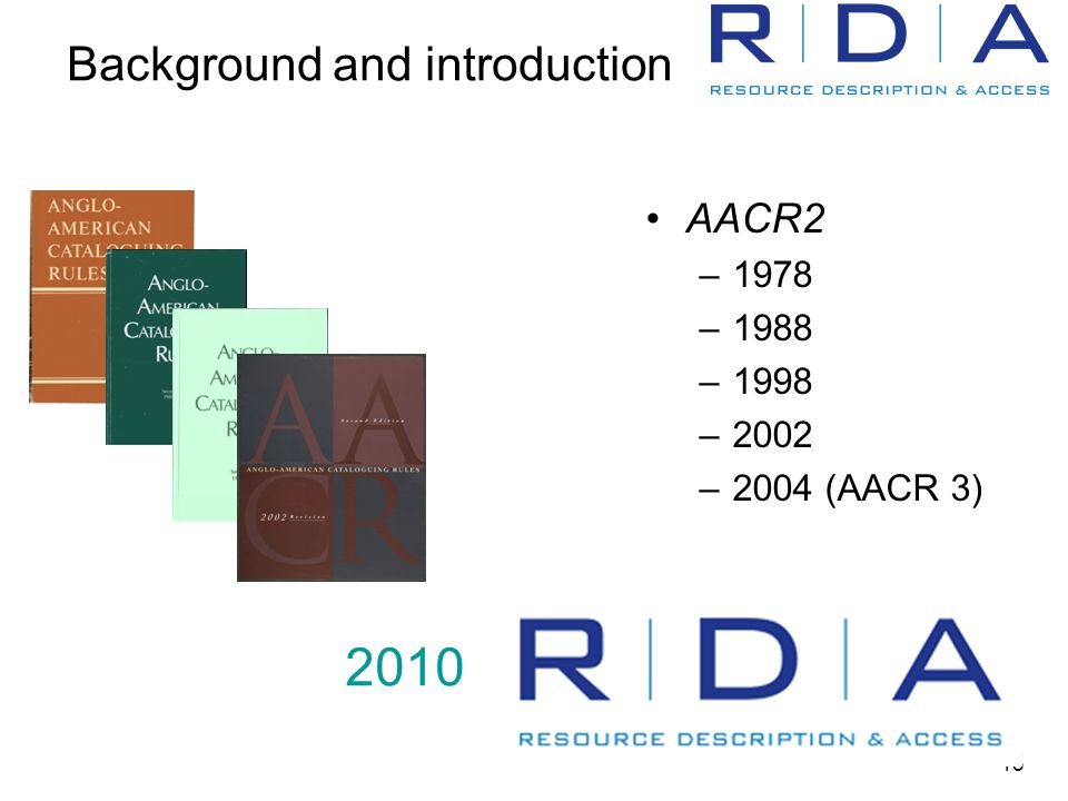 15 Background and introduction AACR2 –1978 –1988 –1998 –2002 –2004 (AACR 3) 2010