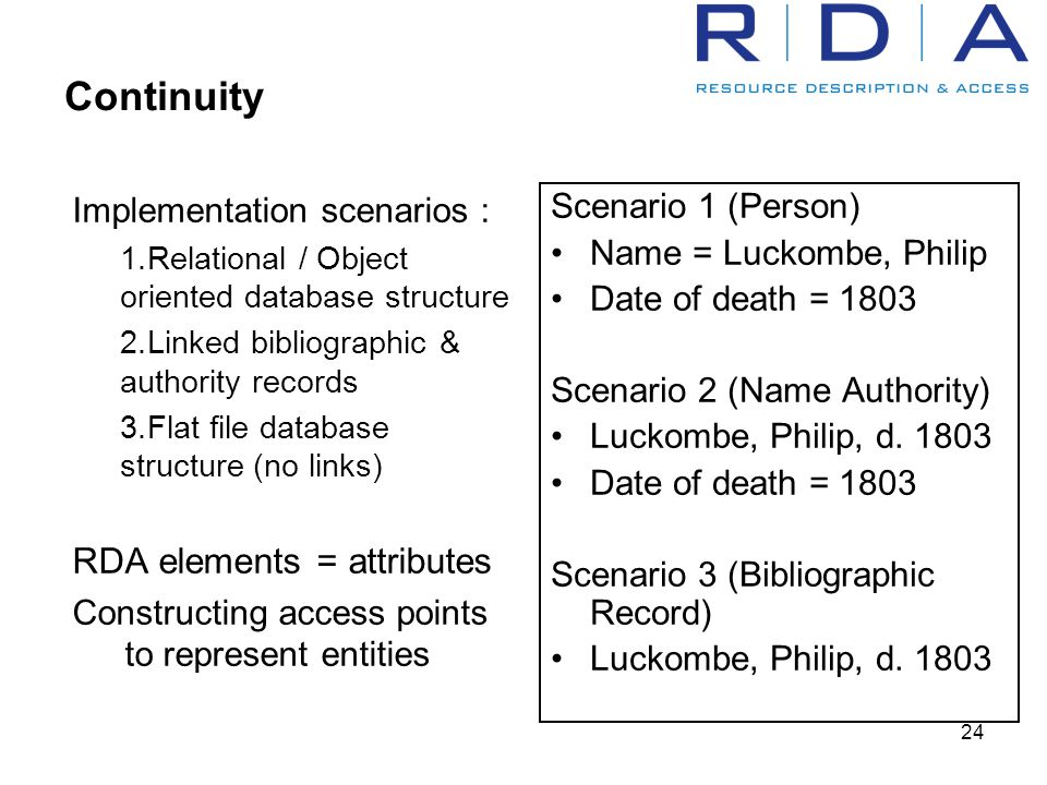 24 Continuity Implementation scenarios : 1.Relational / Object oriented database structure 2.Linked bibliographic & authority records 3.Flat file database structure (no links) RDA elements = attributes Constructing access points to represent entities Scenario 1 (Person) Name = Luckombe, Philip Date of death = 1803 Scenario 2 (Name Authority) Luckombe, Philip, d.