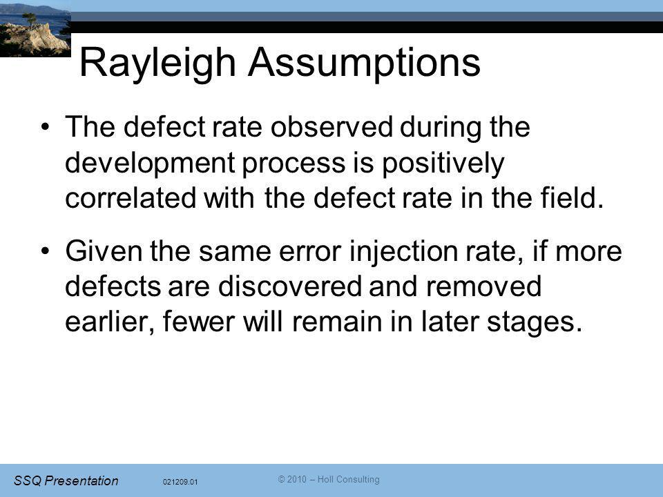 021209.01 SSQ Presentation © 2010 – Holl Consulting Rayleigh Assumptions The defect rate observed during the development process is positively correlated with the defect rate in the field.