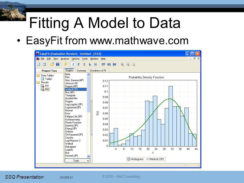 021209.01 SSQ Presentation © 2010 – Holl Consulting Fitting A Model to Data EasyFit from www.mathwave.com