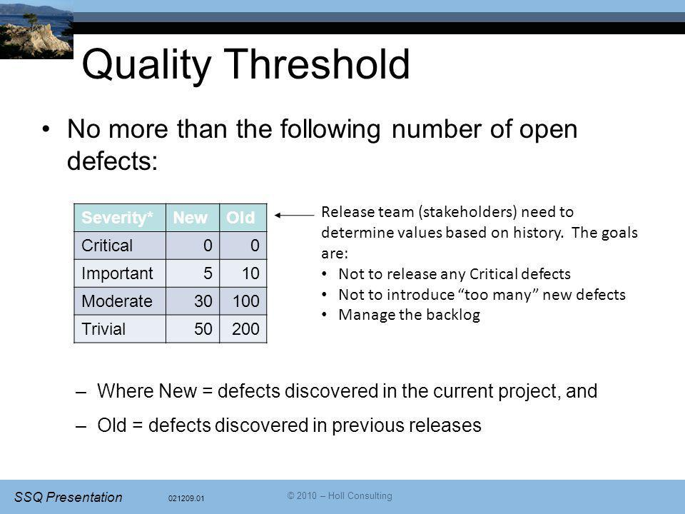 021209.01 SSQ Presentation © 2010 – Holl Consulting Quality Threshold No more than the following number of open defects: –Where New = defects discover