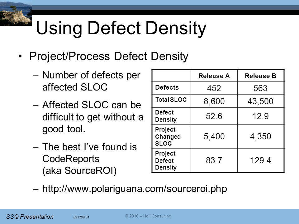021209.01 SSQ Presentation © 2010 – Holl Consulting Using Defect Density Project/Process Defect Density –Number of defects per affected SLOC –Affected SLOC can be difficult to get without a good tool.