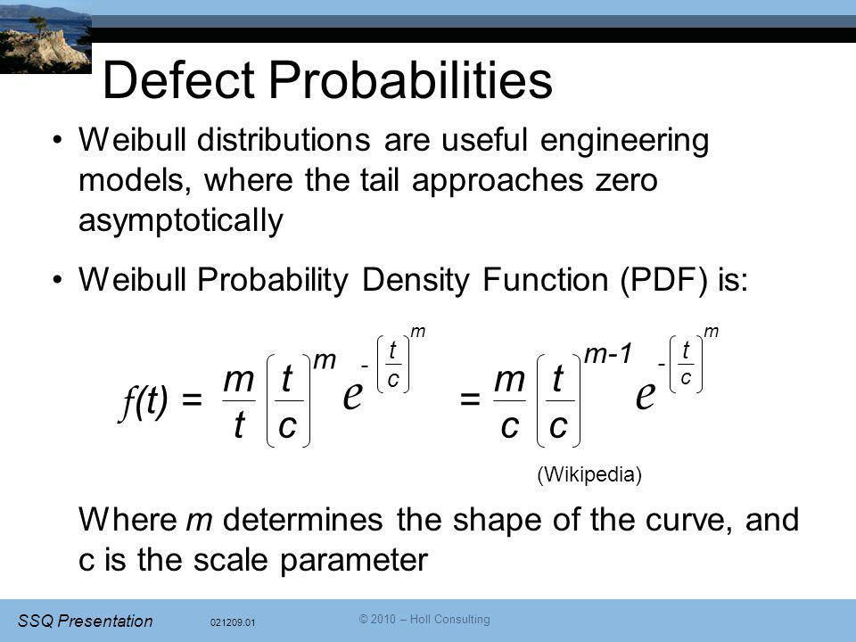 021209.01 SSQ Presentation © 2010 – Holl Consulting Defect Probabilities Weibull distributions are useful engineering models, where the tail approaches zero asymptotically Weibull Probability Density Function (PDF) is: Where m determines the shape of the curve, and c is the scale parameter tctc mtmt m e tctc m - f (t) = tctc mcmc m-1 e tctc m - = (Wikipedia)