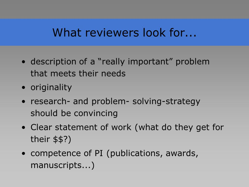 What reviewers look for...