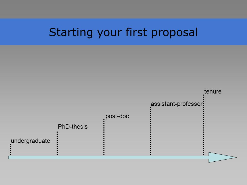 Starting your first proposal undergraduate PhD-thesis post-doc assistant-professor tenure