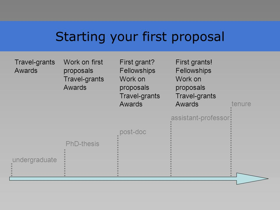 Starting your first proposal undergraduate PhD-thesis post-doc assistant-professor tenure Travel-grants Awards Work on first proposals Travel-grants Awards First grant.