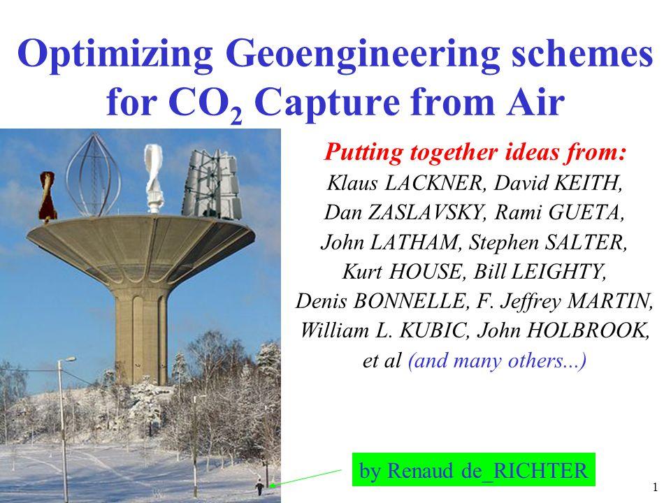 Air capture with calcium hydroxide Lackner et al.and Elliott et al.