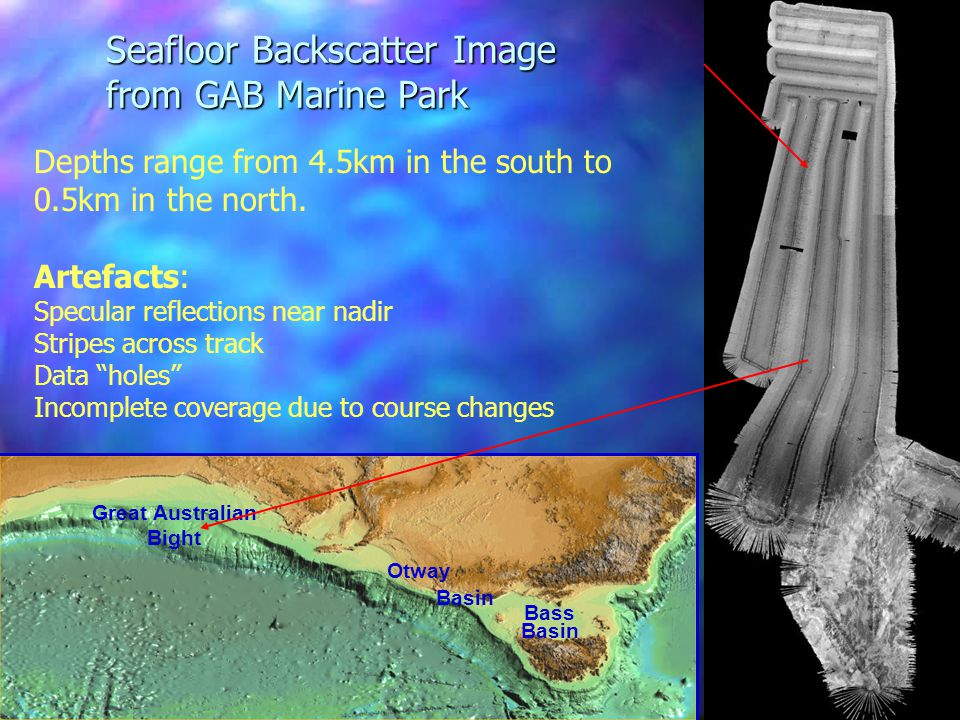 Great Australian Bight Otway Basin Bass Basin Seafloor Backscatter Image from GAB Marine Park Depths range from 4.5km in the south to 0.5km in the north.