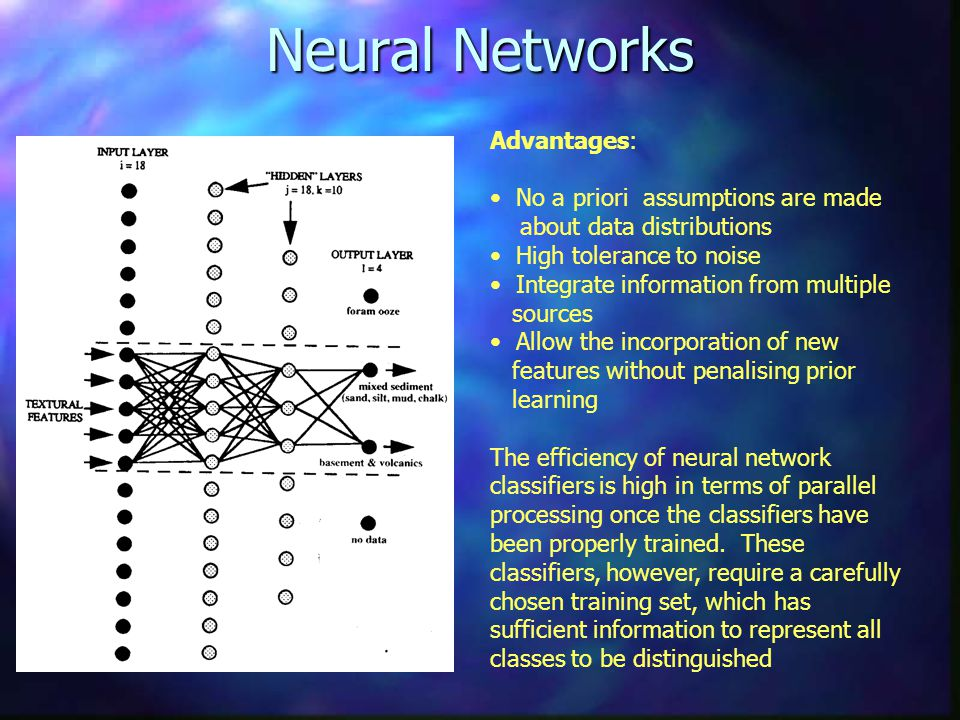 Neural Networks Advantages: No a priori assumptions are made about data distributions High tolerance to noise Integrate information from multiple sources Allow the incorporation of new features without penalising prior learning The efficiency of neural network classifiers is high in terms of parallel processing once the classifiers have been properly trained.