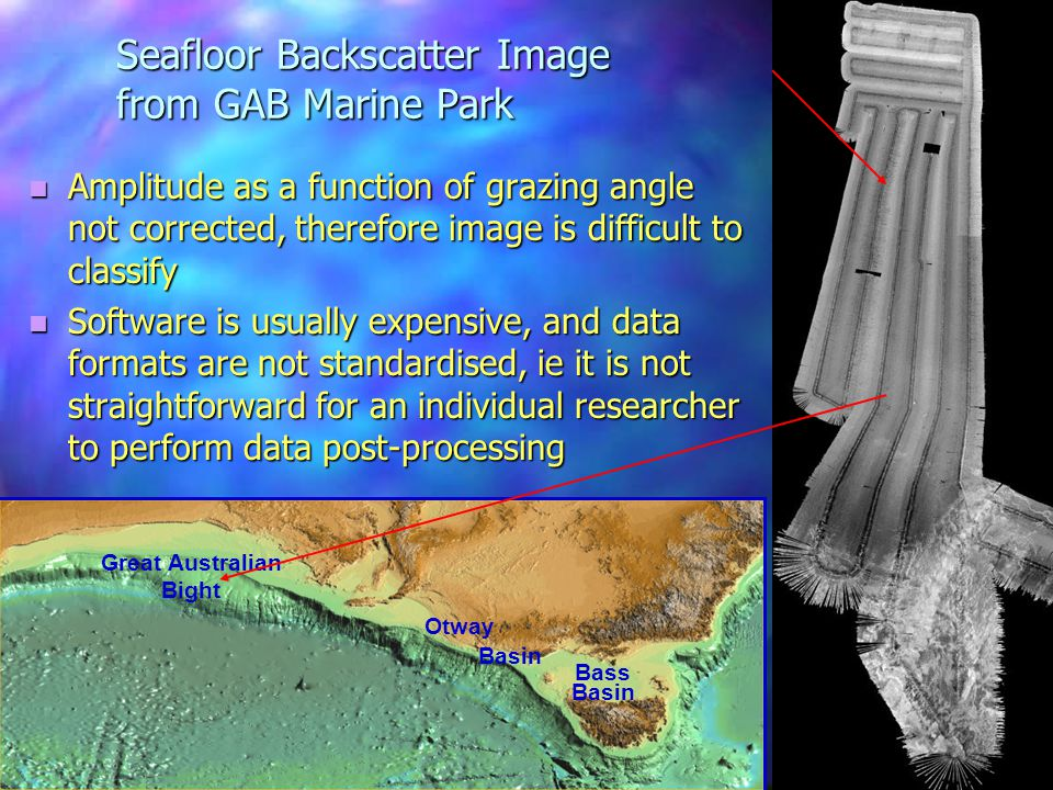 n Amplitude as a function of grazing angle not corrected, therefore image is difficult to classify n Software is usually expensive, and data formats are not standardised, ie it is not straightforward for an individual researcher to perform data post-processing Great Australian Bight Otway Basin Bass Basin Seafloor Backscatter Image from GAB Marine Park