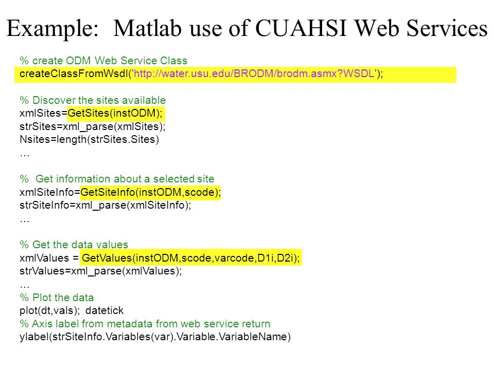 Example: Matlab use of CUAHSI Web Services % create ODM Web Service Class createClassFromWsdl( http://water.usu.edu/BRODM/brodm.asmx WSDL ); % Discover the sites available xmlSites=GetSites(instODM); strSites=xml_parse(xmlSites); Nsites=length(strSites.Sites) … % Get information about a selected site xmlSiteInfo=GetSiteInfo(instODM,scode); strSiteInfo=xml_parse(xmlSiteInfo); … % Get the data values xmlValues = GetValues(instODM,scode,varcode,D1i,D2i); strValues=xml_parse(xmlValues); … % Plot the data plot(dt,vals); datetick % Axis label from metadata from web service return ylabel(strSiteInfo.Variables(var).Variable.VariableName)