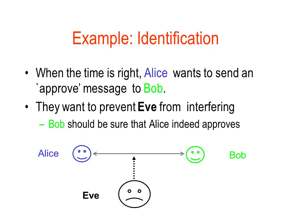 Example: Identification When the time is right, Alice wants to send an `approve' message to Bob.