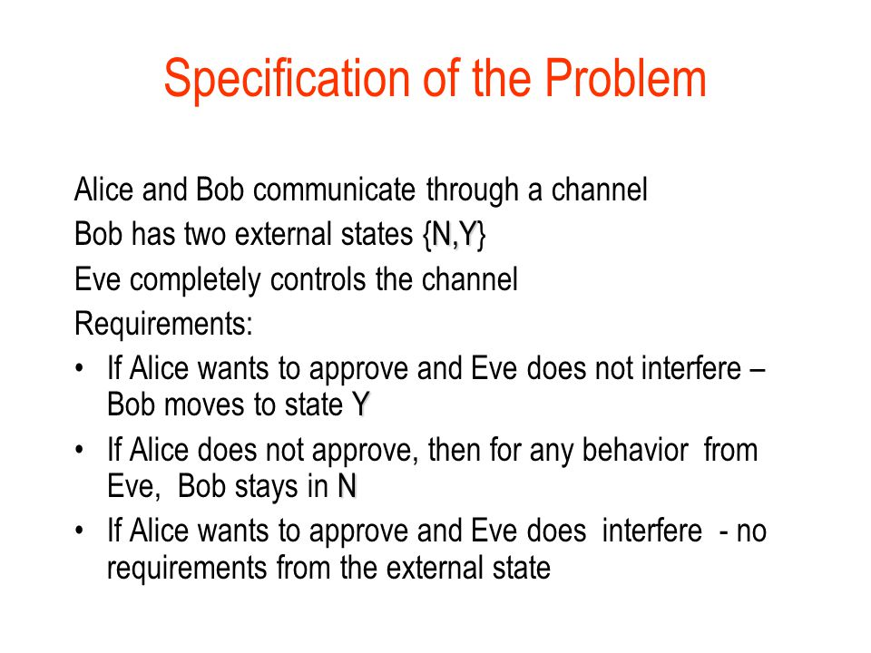 Specification of the Problem Alice and Bob communicate through a channel N,Y Bob has two external states {N,Y} Eve completely controls the channel Requirements: YIf Alice wants to approve and Eve does not interfere – Bob moves to state Y NIf Alice does not approve, then for any behavior from Eve, Bob stays in N If Alice wants to approve and Eve does interfere - no requirements from the external state