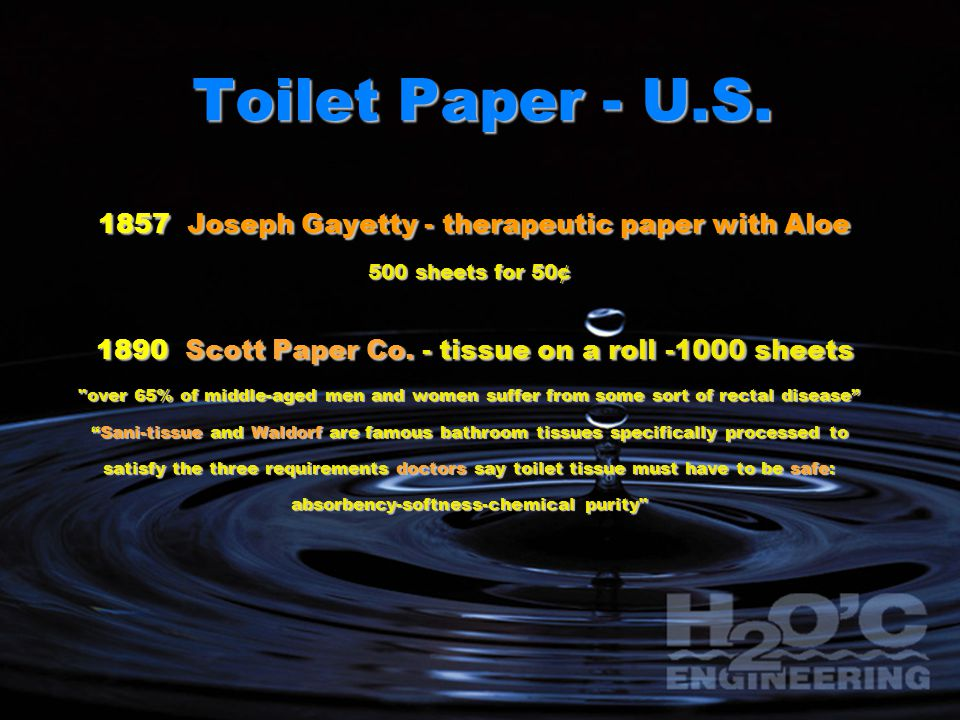 Toilet Paper - U.S. 1857 Joseph Gayetty - therapeutic paper with Aloe 1857 Joseph Gayetty - therapeutic paper with Aloe 500 sheets for 50¢ 1890 Scott