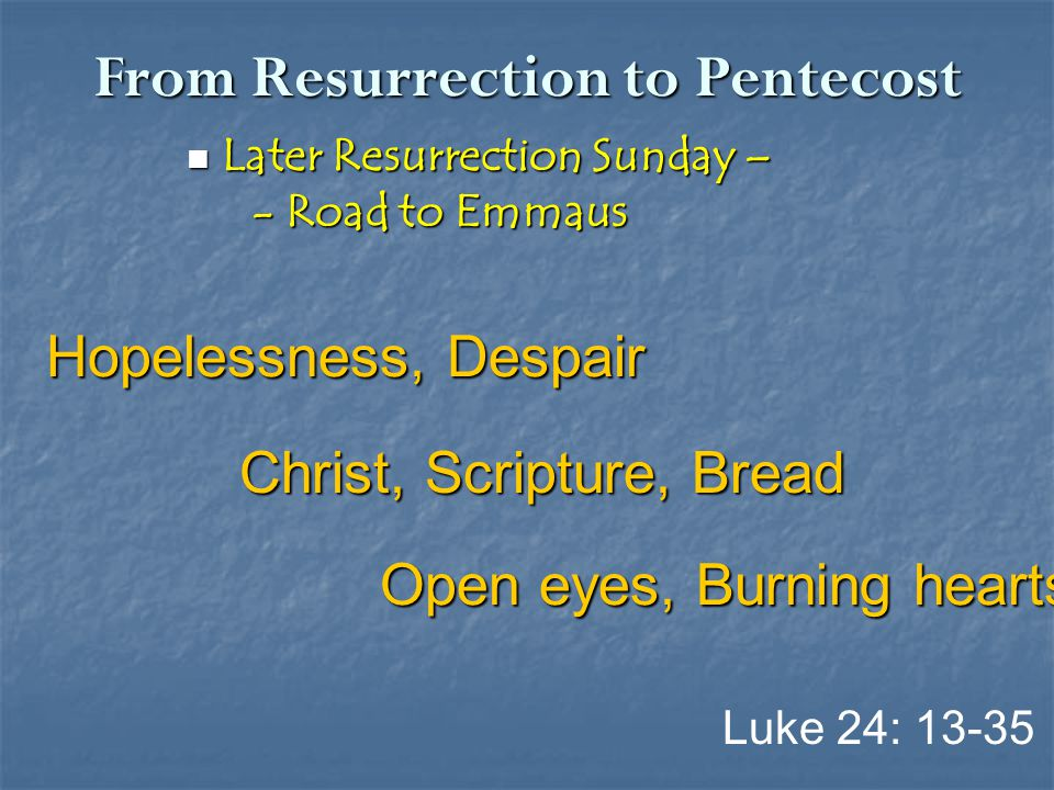 From Resurrection to Pentecost Later Resurrection Sunday – Later Resurrection Sunday – - Road to Emmaus - Road to Emmaus Luke 24: 13-35 Hopelessness,