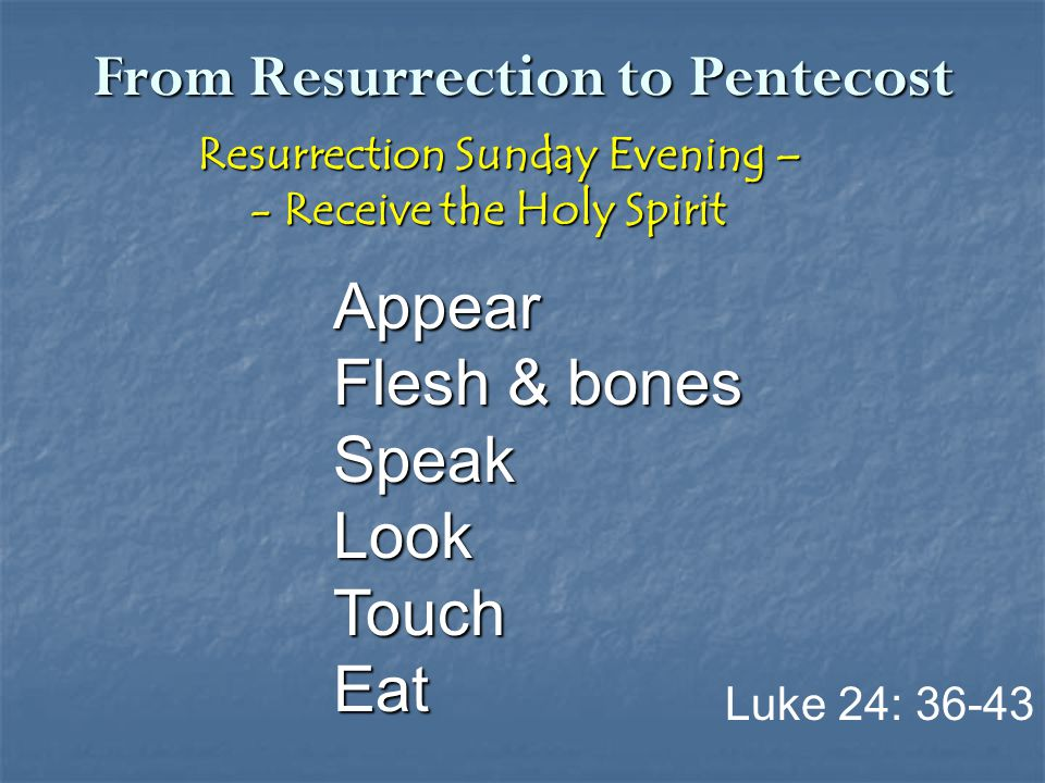 From Resurrection to Pentecost Resurrection Sunday Evening – Resurrection Sunday Evening – - Receive the Holy Spirit - Receive the Holy Spirit Appear