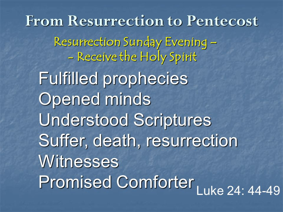 From Resurrection to Pentecost Resurrection Sunday Evening – Resurrection Sunday Evening – - Receive the Holy Spirit - Receive the Holy Spirit Fulfill