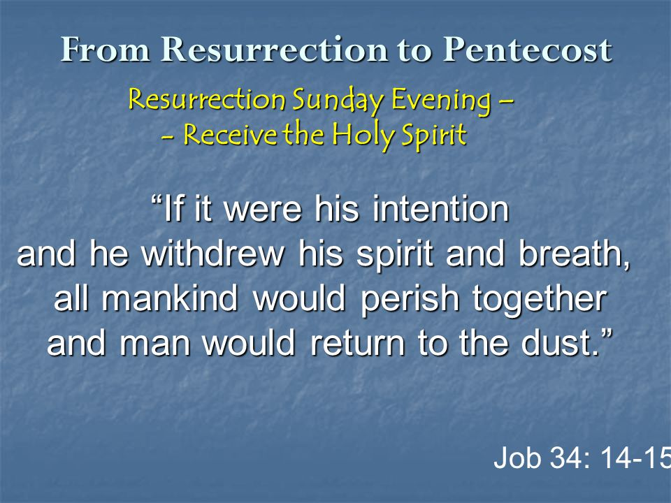 "From Resurrection to Pentecost Resurrection Sunday Evening – Resurrection Sunday Evening – - Receive the Holy Spirit - Receive the Holy Spirit ""If it"