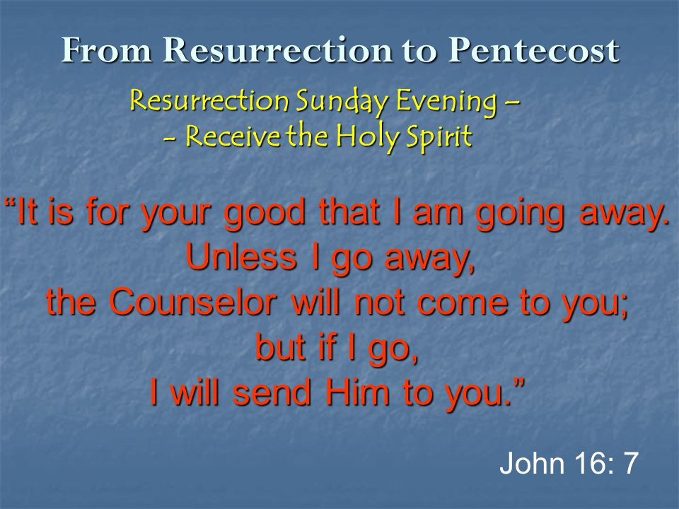 "From Resurrection to Pentecost Resurrection Sunday Evening – Resurrection Sunday Evening – - Receive the Holy Spirit - Receive the Holy Spirit ""It is"