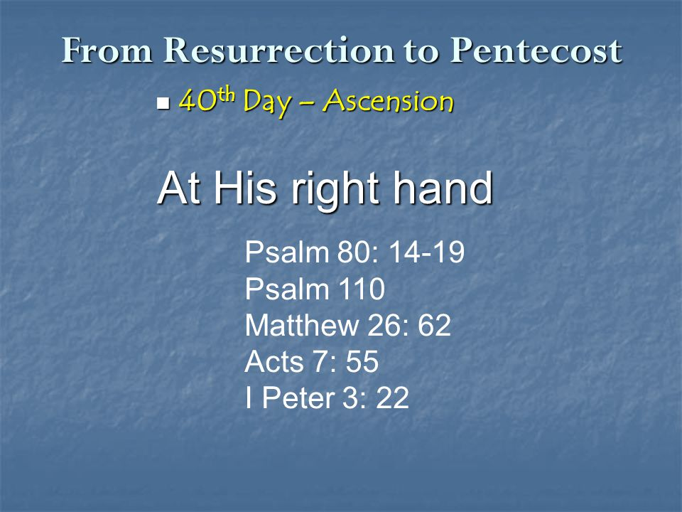 From Resurrection to Pentecost 40 th Day – Ascension 40 th Day – Ascension At His right hand Psalm 80: 14-19 Psalm 110 Matthew 26: 62 Acts 7: 55 I Pet