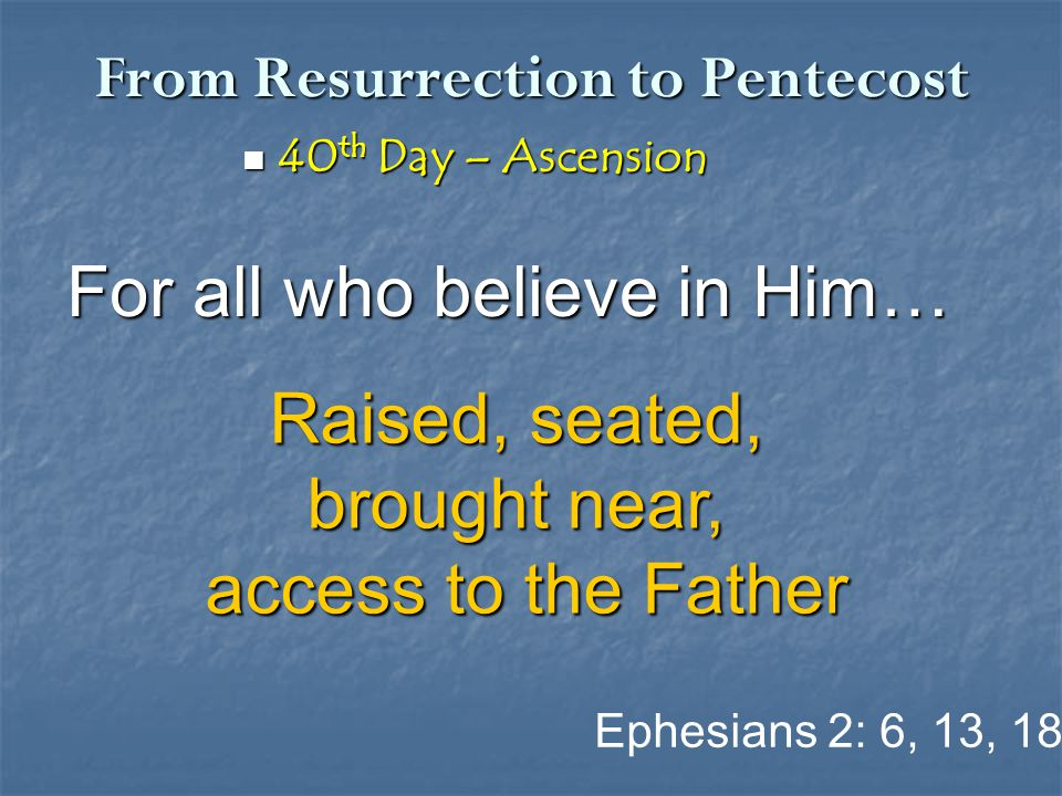 From Resurrection to Pentecost 40 th Day – Ascension 40 th Day – Ascension For all who believe in Him… Ephesians 2: 6, 13, 18 Raised, seated, brought