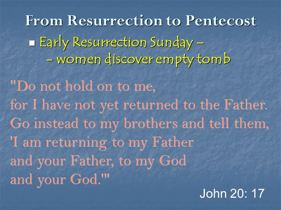 From Resurrection to Pentecost 40 th Day – Ascension 40 th Day – Ascension This same Jesus… will come back in the same way you have seen Him go into heaven. Daniel 7: 13 In the clouds Matthew 24: 30 Matthew 26: 64