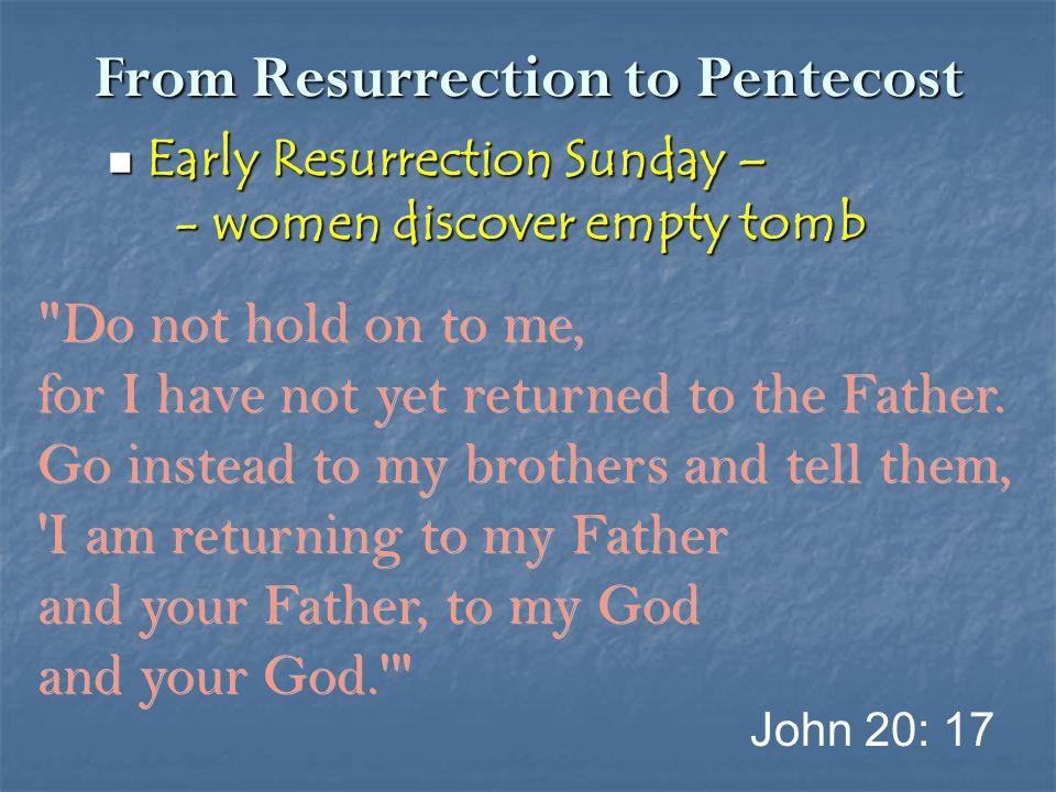 From Resurrection to Pentecost Later Resurrection Sunday – Later Resurrection Sunday – - Road to Emmaus - Road to Emmaus Luke 24: 13-35 Hopelessness, Despair Christ, Scripture, Bread Open eyes, Burning hearts