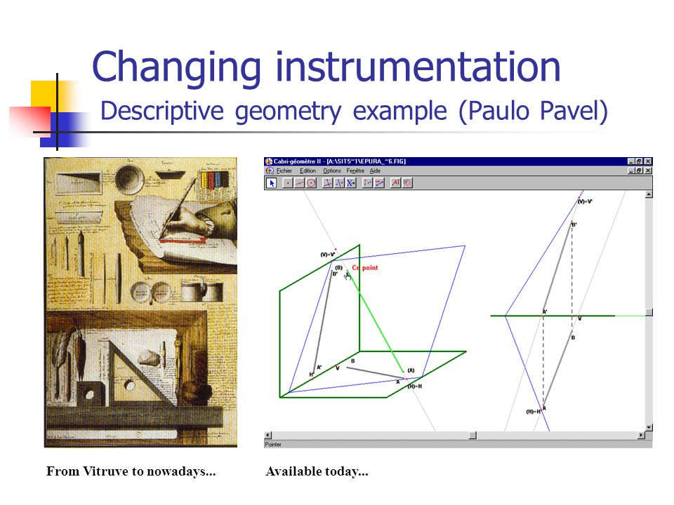 Changing instrumentation Descriptive geometry example (Paulo Pavel) From Vitruve to nowadays...