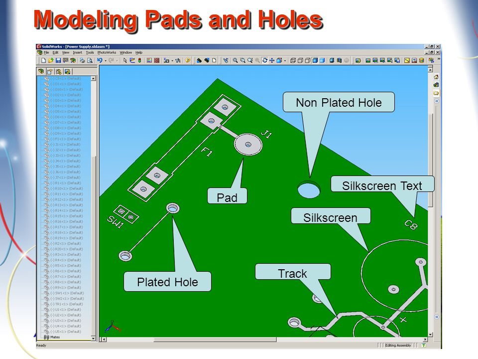 Modeling Pads and Holes Plated Hole Non Plated Hole Pad Track Silkscreen Silkscreen Text