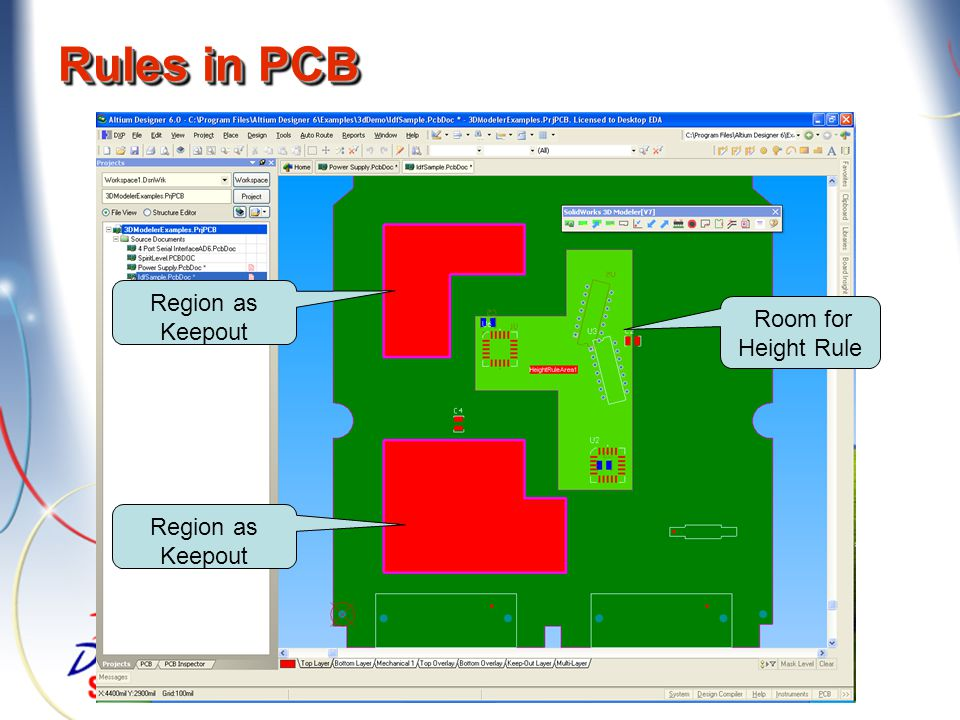 Rules in PCB Room for Height Rule Region as Keepout