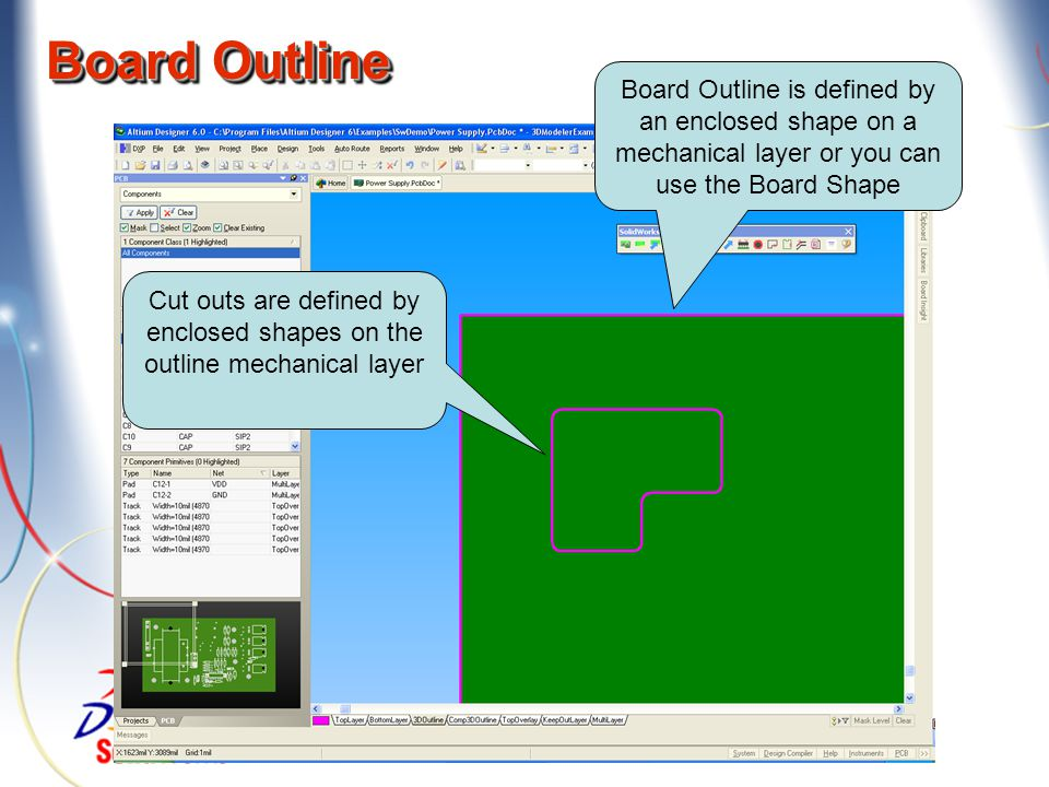 PCB Tools menus in SolidWorks Sub-menu added to the Tools menu Assembly Part
