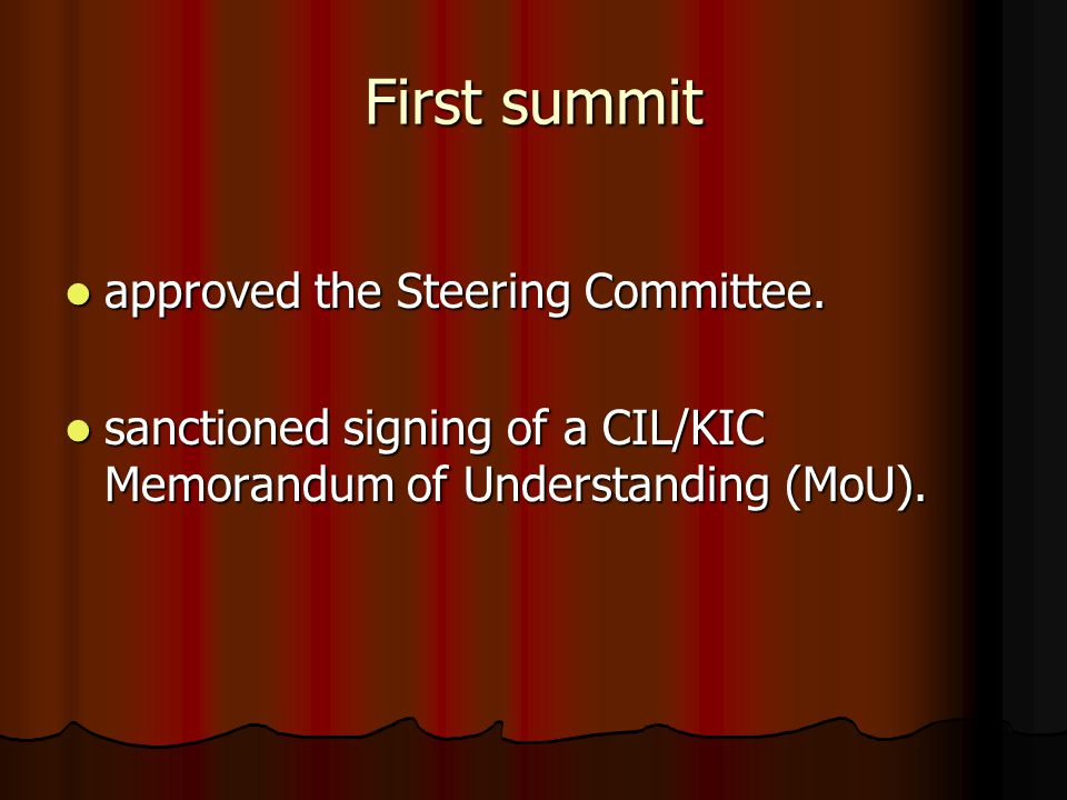 First summit approved the Steering Committee. approved the Steering Committee.