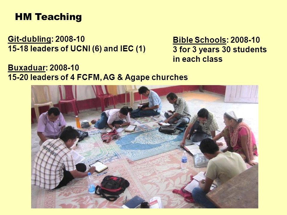Git-dubling: 2008-10 15-18 leaders of UCNI (6) and IEC (1) Buxaduar: 2008-10 15-20 leaders of 4 FCFM, AG & Agape churches HM Teaching Bible Schools: 2008-10 3 for 3 years 30 students in each class
