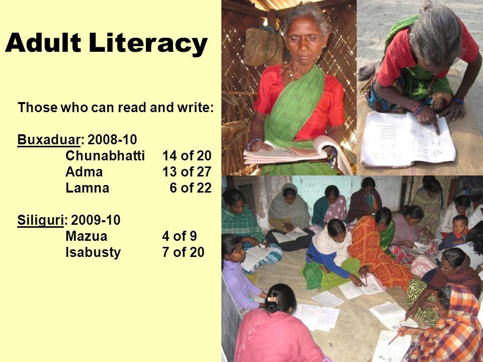 Those who can read and write: Buxaduar: 2008-10 Chunabhatti14 of 20 Adma 13 of 27 Lamna 6 of 22 Siliguri: 2009-10 Mazua4 of 9 Isabusty7 of 20 Adult Literacy