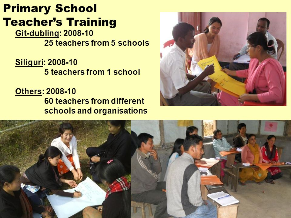 Git-dubling: 2008-10 25 teachers from 5 schools Siliguri: 2008-10 5 teachers from 1 school Others: 2008-10 60 teachers from different schools and organisations Primary School Teacher's Training