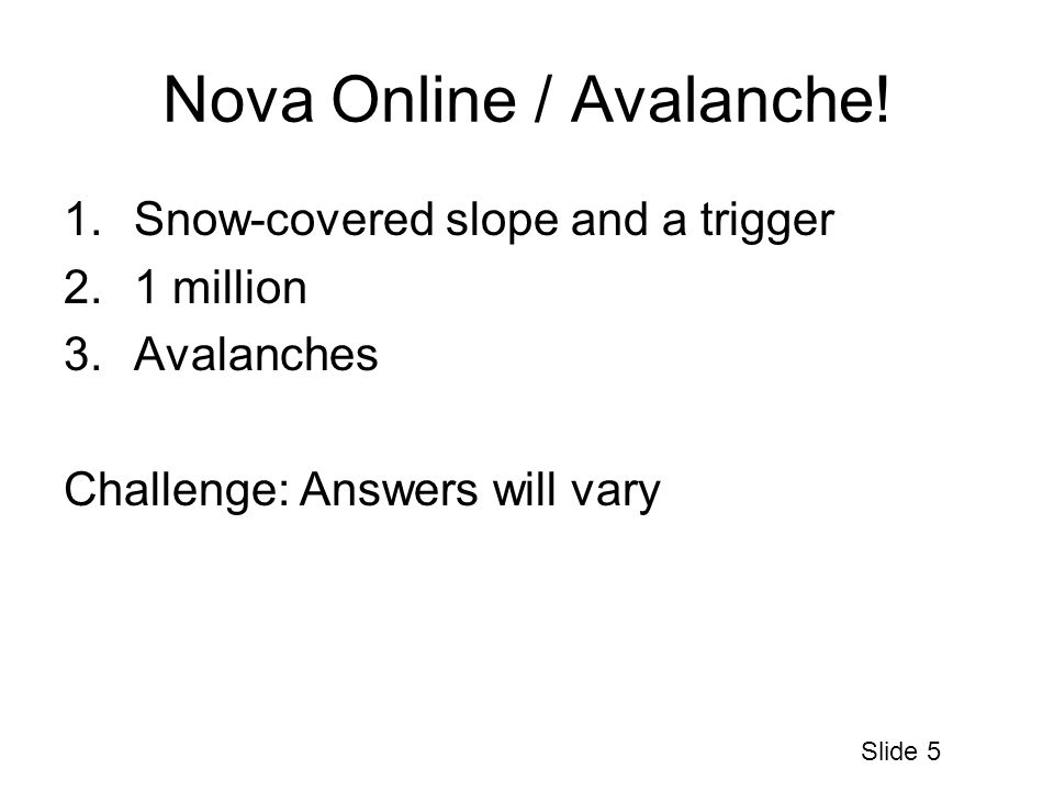 Nova Online / Avalanche.