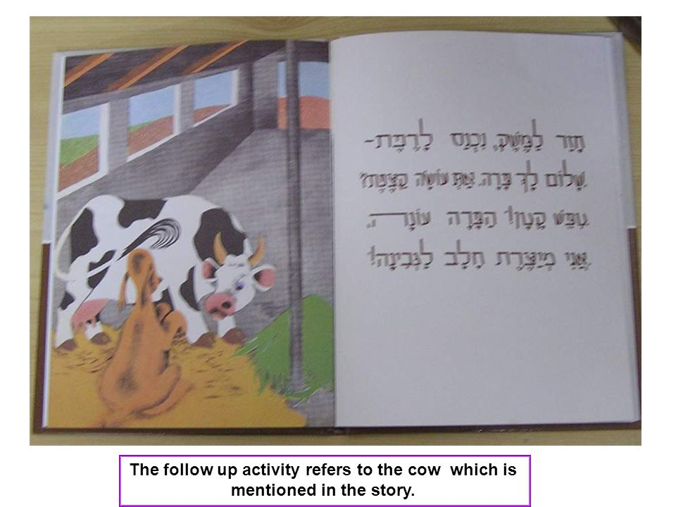 The follow up activity refers to the cow which is mentioned in the story.
