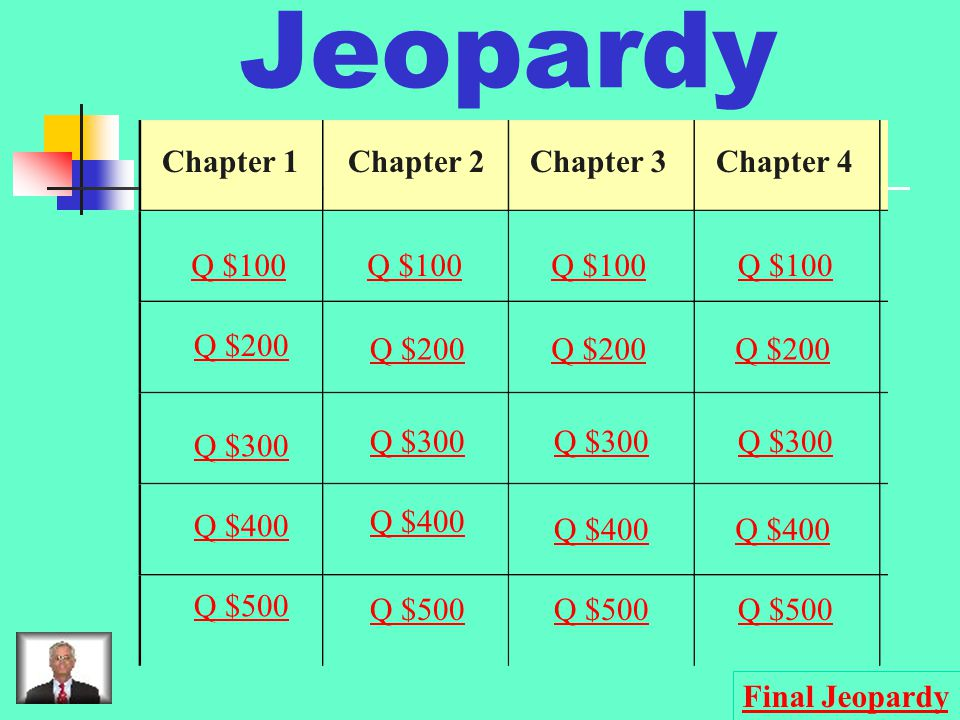 Jeopardy Chapter 1Chapter 2Chapter 3Chapter 4 Q $100 Q $200 Q $300 Q $400 Q $500 Q $100 Q $200 Q $300 Q $400 Q $500 Final Jeopardy