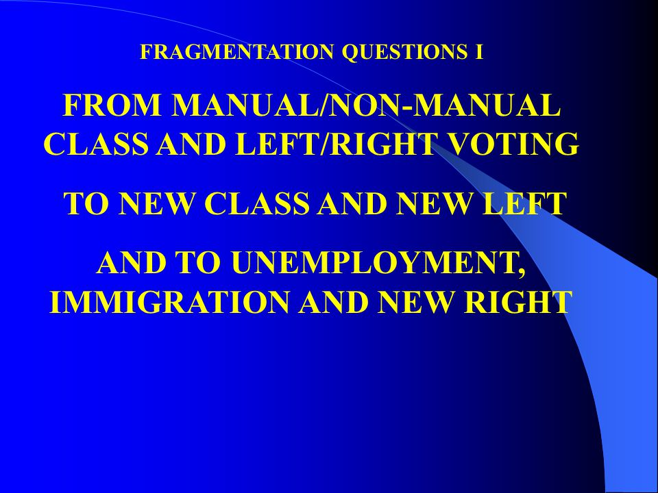 FRAGMENTATION QUESTIONS I FROM MANUAL/NON-MANUAL CLASS AND LEFT/RIGHT VOTING TO NEW CLASS AND NEW LEFT AND TO UNEMPLOYMENT, IMMIGRATION AND NEW RIGHT