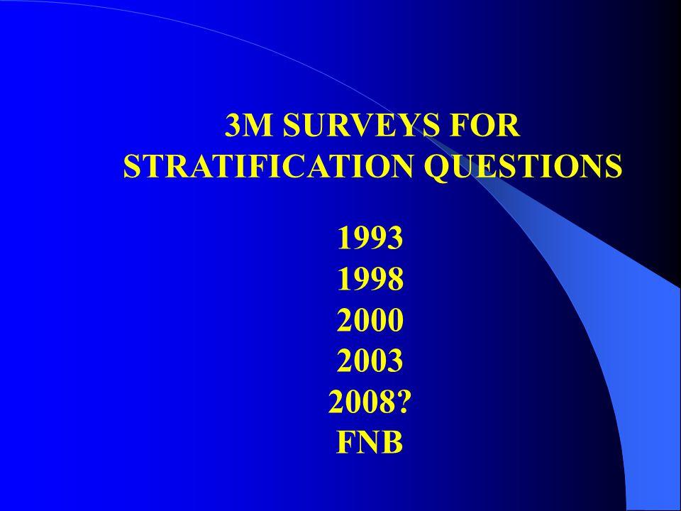 3M SURVEYS FOR STRATIFICATION QUESTIONS 1993 1998 2000 2003 2008 FNB