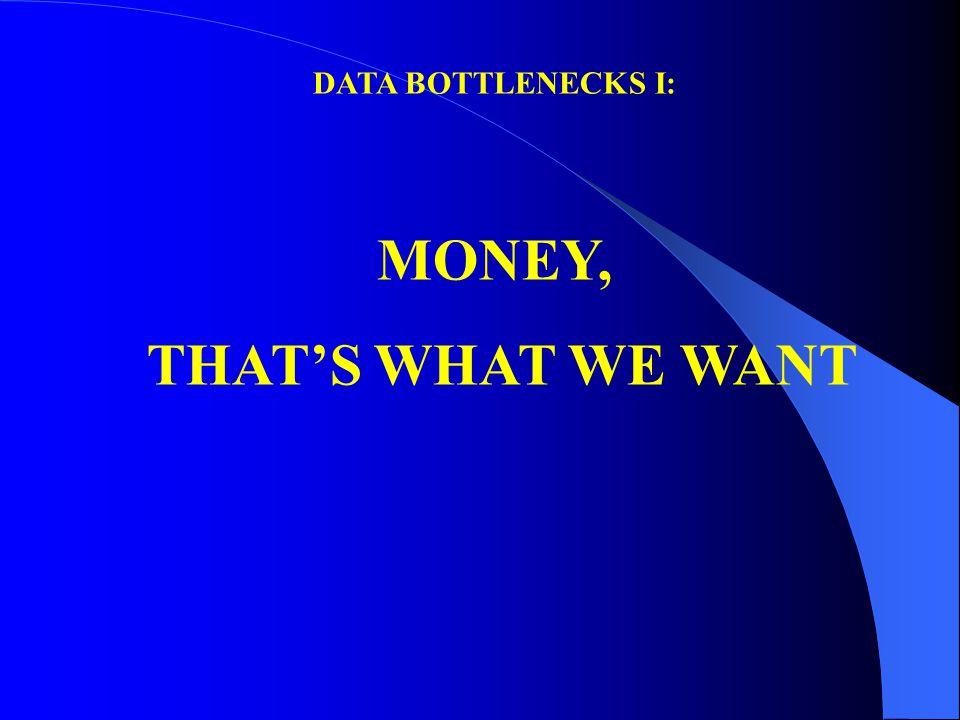 DATA BOTTLENECKS I: MONEY, THAT'S WHAT WE WANT